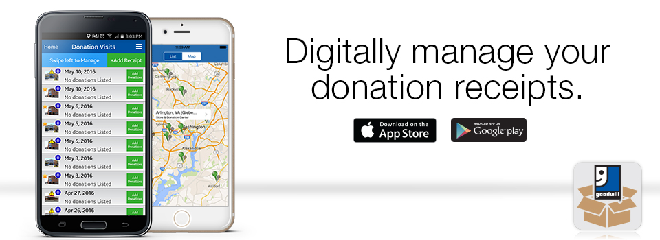 Digitally manage your donation receipts - The Mobile Goodwill App
