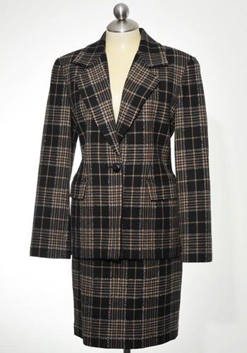 Fashion of Goodwill - Petitely Powerful Plaid Linda Allard Ellen Tracy Skirt Suit