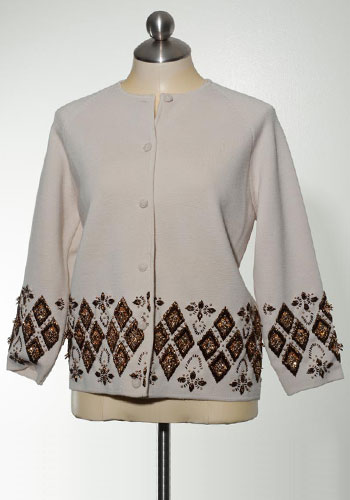 """Fashion of Goodwill - Chic """"Not SO"""" Ugly Embellished Vintage Cardigan with Argyle Beading Detail"""