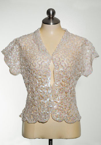 Fashion of Goodwill - Sheerly Ice Queen Vintage Sequined Short Sleeved Jacket