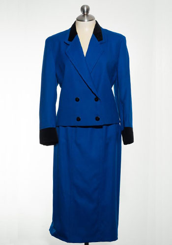 Fashion of Goodwill - Bustling Bold Black and Blue Vintage 1980s Jaeger Suit