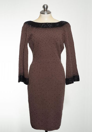 Fashion of Goodwill - Sprinkled in Sequins Taupe Vintage Dress with Black Embellishments