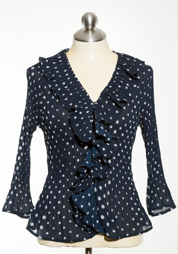 Fashion of Goodwill - Sweeten the Spots Ruffled Polka Dot Jaipur Blouse