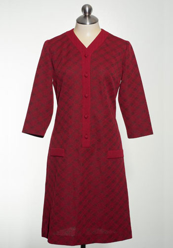 Fashion of Goodwill - From Dusting to Desks Vintage Red tan Jay Dress Popover