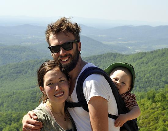 Gabe, Jen & Wyatt Wyatt Hiking Old Rag, Virginia