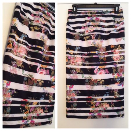 Black and white striped skirt with floral pattern