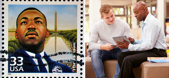 Left: Martin Luther King Jr. Stamp. Right: Two men sitting on a couch. One giving instruction to the other.