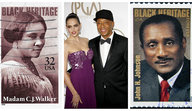 A collage of three pictures. One picture of a stamp with Madam C.J. Walker's face, a picture of Russell Simmons and model Hana Nitsche, and a stamp with John H. Johnson's face on it