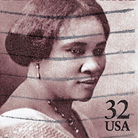 A stamp with Madam C.J. Walker's face on it