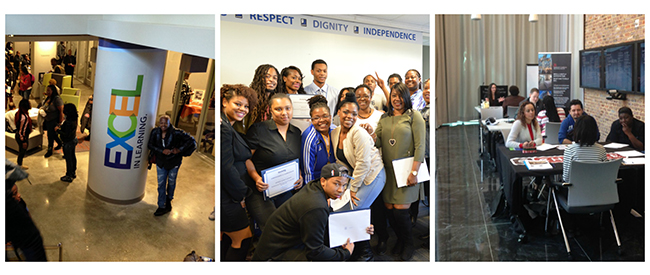 A collage of three pictures: one showing the inside of the Goodwill Excel Center, one with a group of Goodwill graduates on their graduation day, and one with Goodwill graduates at a hospitality job fair