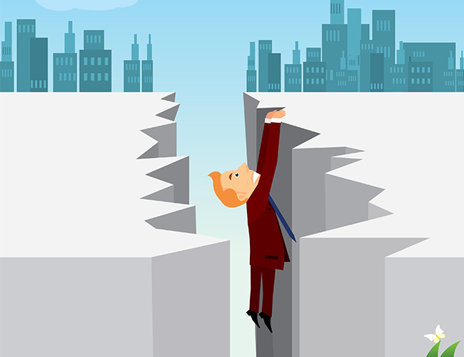 Stock image of a cartoon man in a business suit holding on to the edge of a chasm with a city in the background
