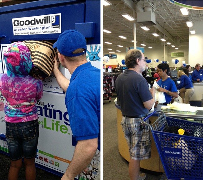 A collage of two pictures: one of a little girl giving a bag of donations to a Goodwill of Greater Washington donation bin and the other a customer at the checkout of a Goodwill of Greater Washington Retail Store