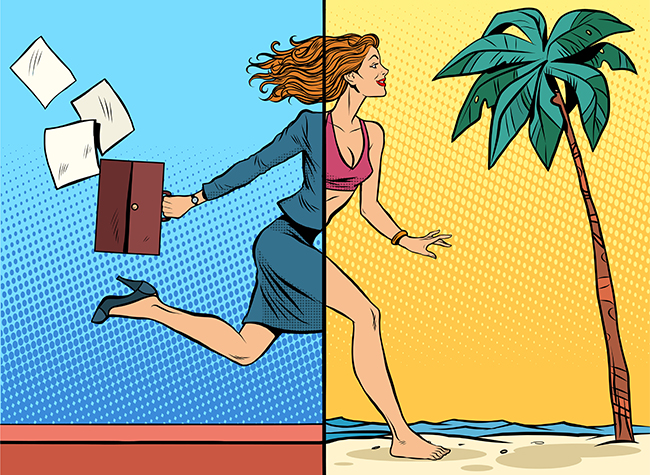Vector - Business woman dreaming about vacation at sea pop art retro style. Travel and tourism. Work and leisure. Beach vacation