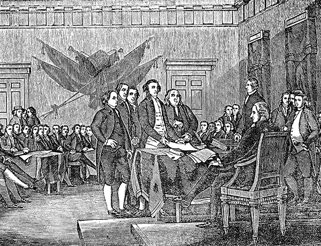Stock Photo - An engraved illustration of the signing the USA American Declaration of Independence, from a Victorian book dated 1880 that is no longer in copyright