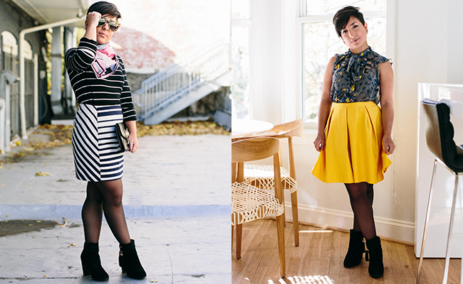A collage of two pictures of the same woman with short dark hair. In the picture on the left she is wearing a black and white striped dress, pink scarf, black booties, round sunglasses, and has a black clutch while standing outside. In the picture on the right she is wearing a sleeveless gray, blue, and yellow top, a bright yellow skirt, the same black booties and is standing inside.