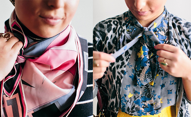 A collage of two pictures. The one on the left is a close up of a pink, gray, and black scarf worn by a woman in a black and white striped top. You can just see the bottom of her chin. The picture on the right is of the same woman but now it is focused on a gray, blue, and yellow scarf she is tying.