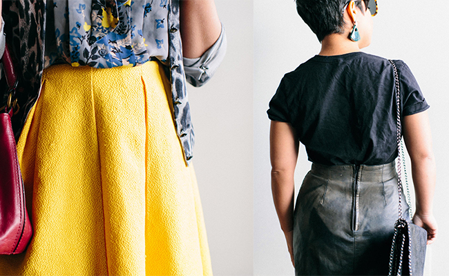A collage of two pictures. The one on the left is a close up of a woman wearing a yellow skirt. There is a little bit of a red purse, a gray, yellow, and blue top and her arm. The picture on the right is of a woman with short brown hair standing with her back to the camera. She has a black t shirt on and a black leather pencil skirt on with a zipper in the back.