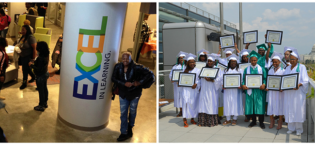 A collage of two pictures. The one on the left is of The Goodwill Excel Center Adult Public Charter School students converse in the school's common area. The one on the right is of