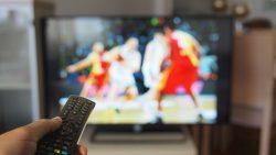 Watching basketball game on tv