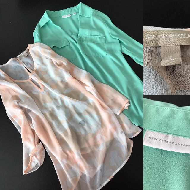 workplace appropriate pastel tops from Goodwill