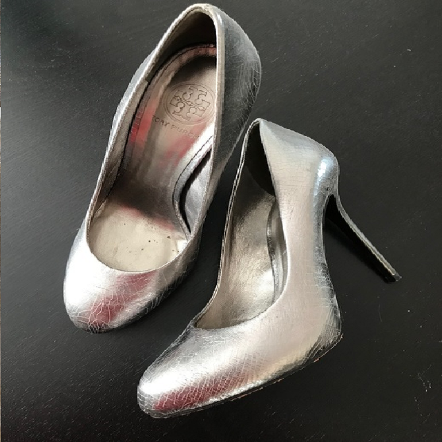 Tory Burch silver pumps found at Goodwill