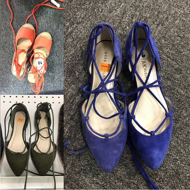 on-trend strappy shoe options found at Goodwill