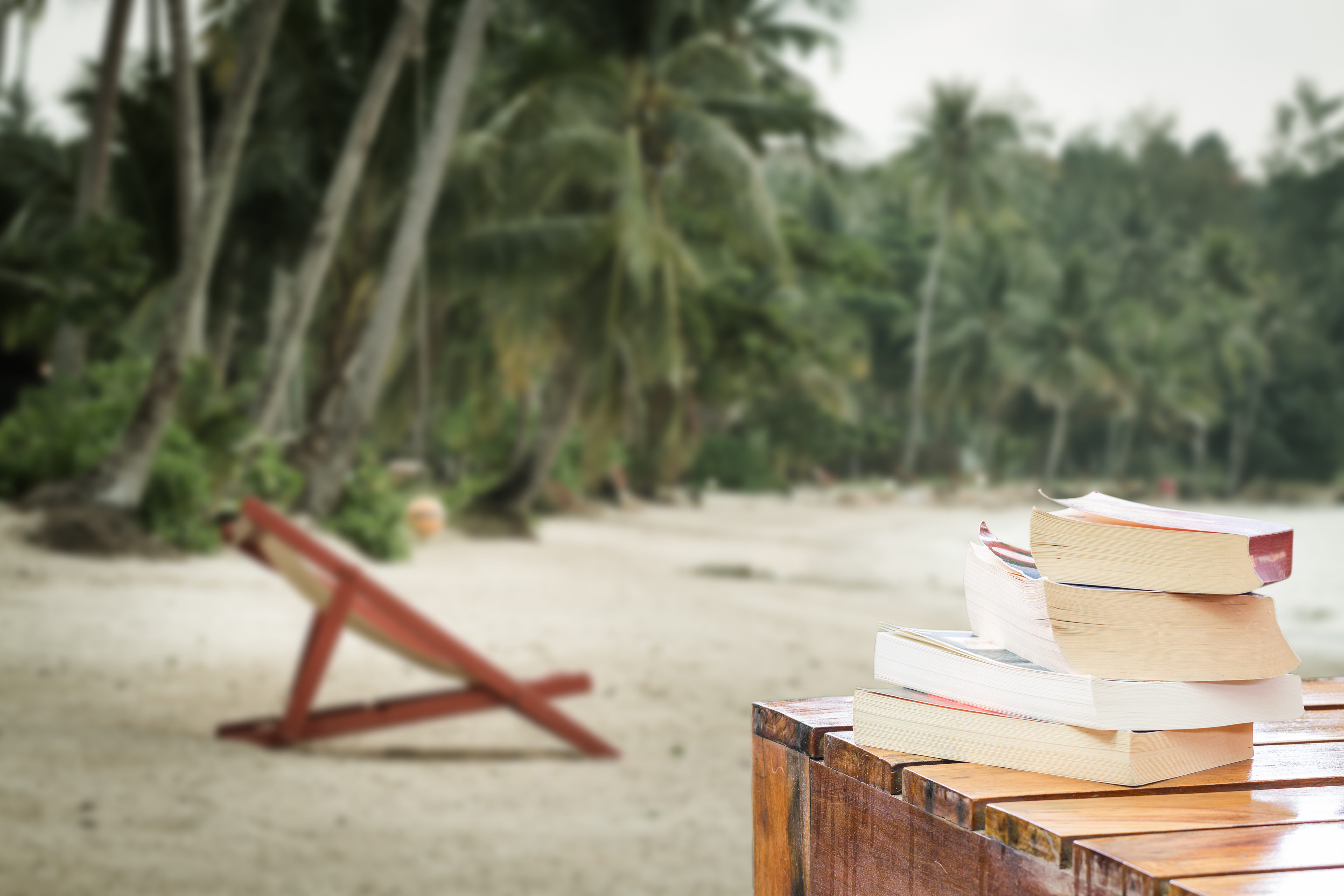 pile of books on wood table at the beach