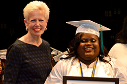 Goodwill of Greater Washington CEO Catherine Maloy with Goodwill Excel student graduation student Shawntay