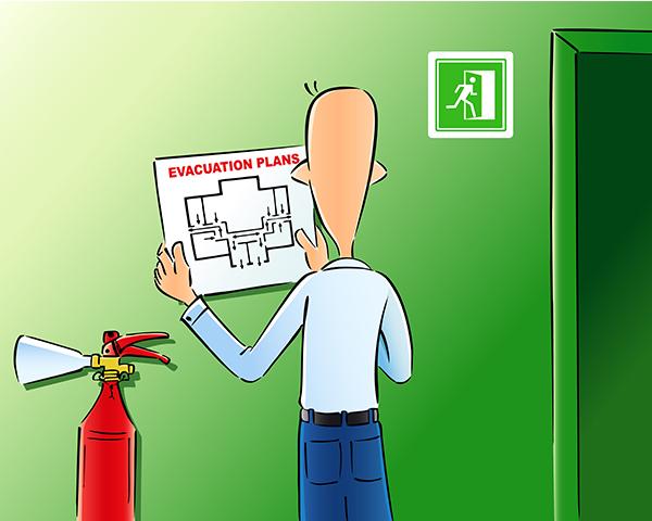 cartoon man hangs an evacuation map on a wall