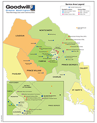 Goodwill of Greater Washington service area map