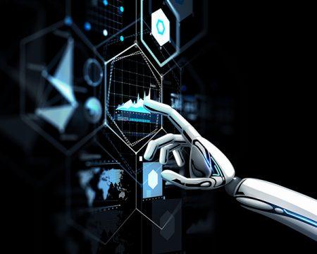 robot hand finger tip touches screen
