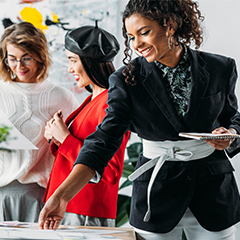 stylish women collaborating in an office